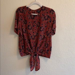Madewell Front Tie Silk Blouse